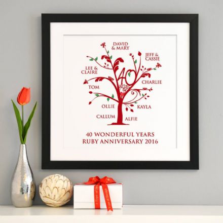 Personalised Ruby Anniversary Family Tree Art